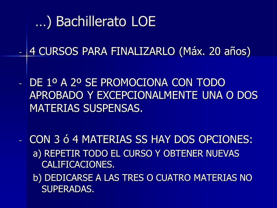 …) Bachillerato LOE 4 CURSOS PARA FINALIZARLO (Máx. 20 años)