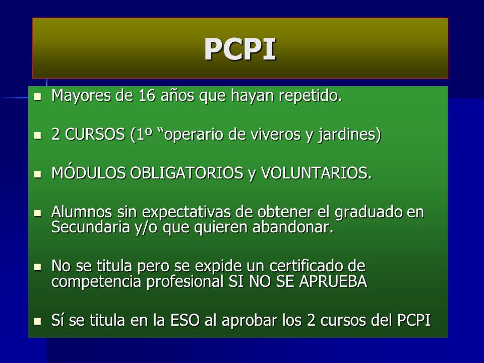 PCPI Mayores de 16 años que hayan repetido.