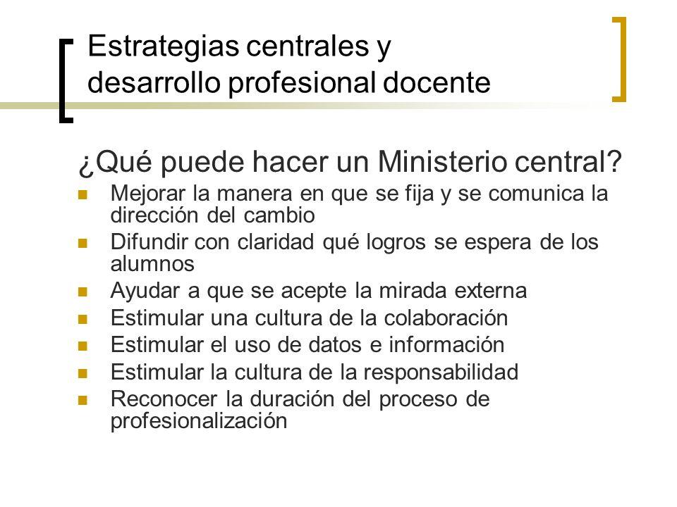 Estrategias centrales y desarrollo profesional docente
