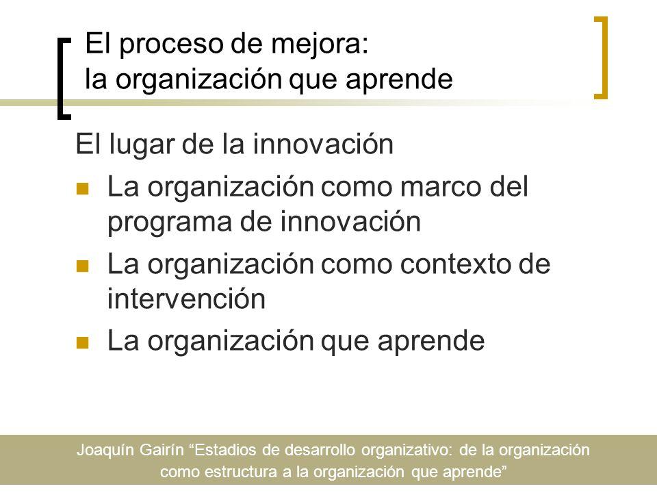 El proceso de mejora: la organización que aprende