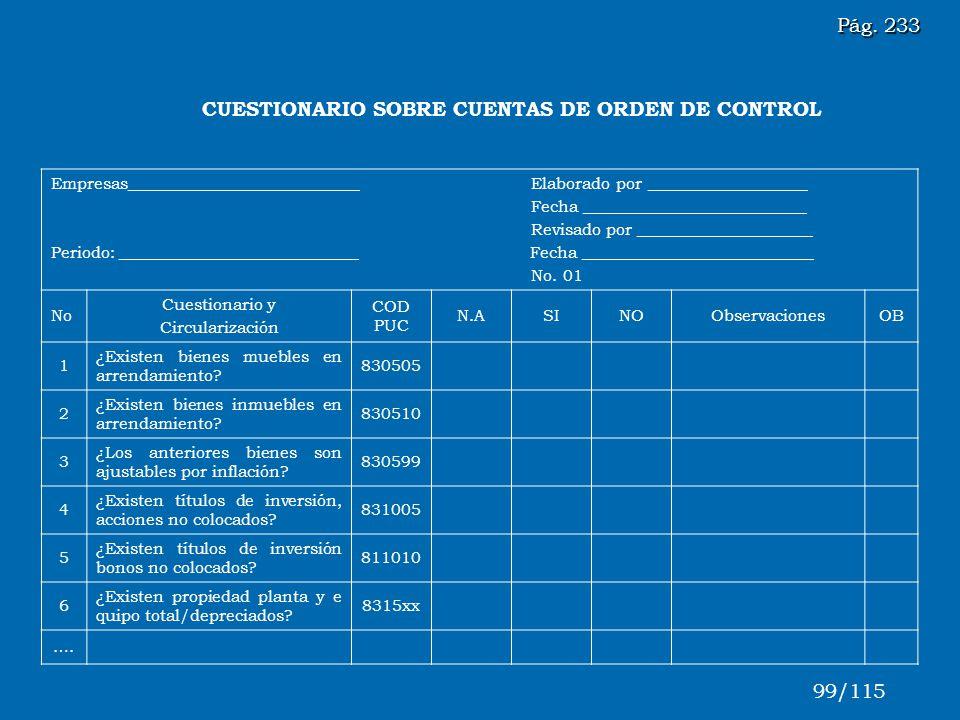 CUESTIONARIO SOBRE CUENTAS DE ORDEN DE CONTROL