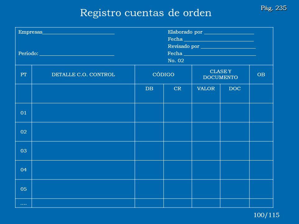 Registro cuentas de orden