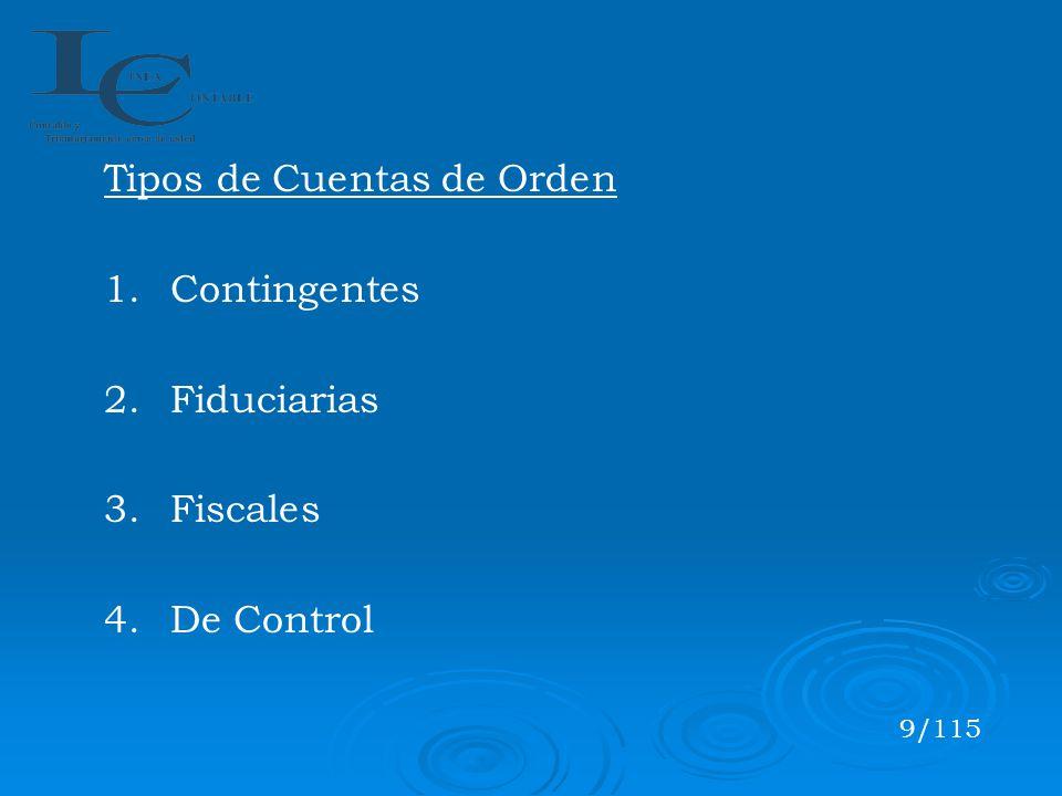 Tipos de Cuentas de Orden 1. Contingentes 2. Fiduciarias 3. Fiscales