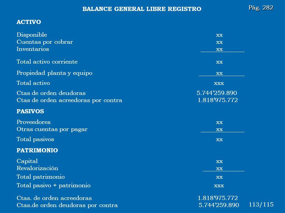 BALANCE GENERAL LIBRE REGISTRO
