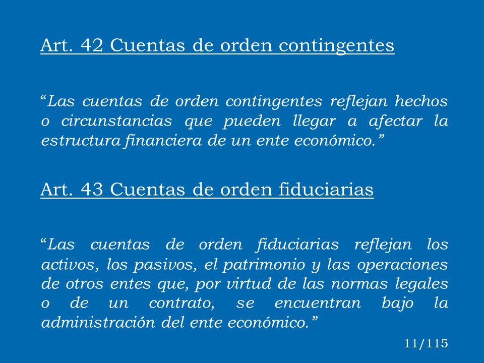 Art. 42 Cuentas de orden contingentes