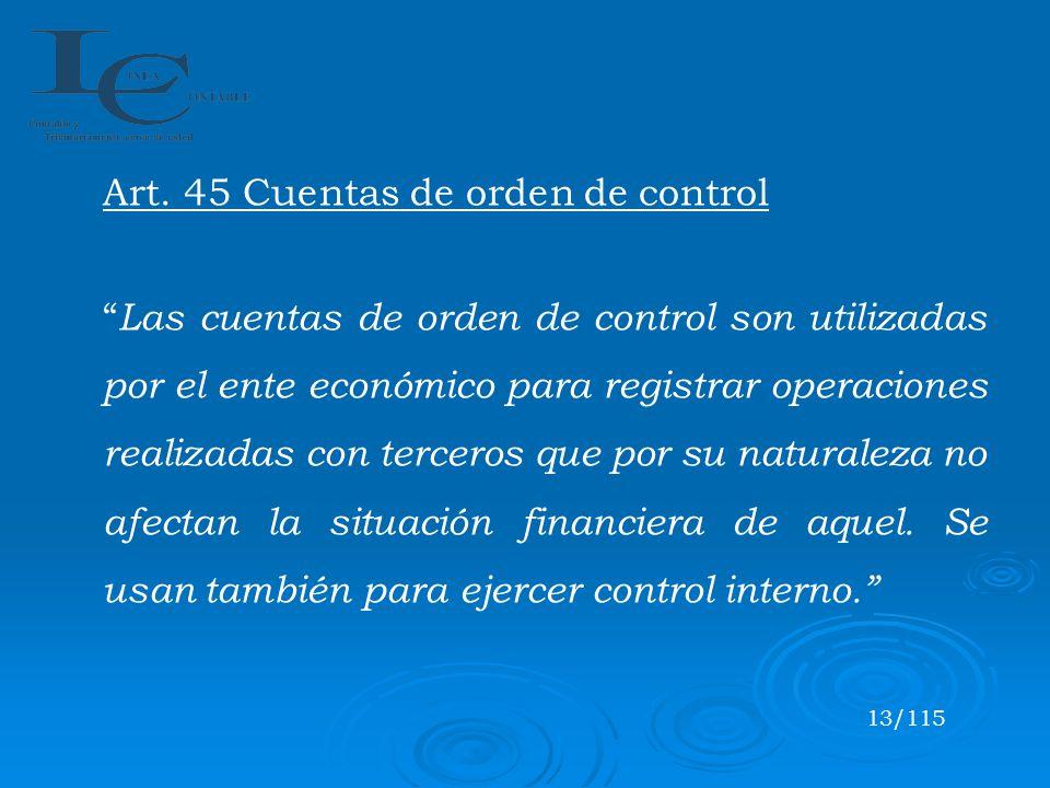 Art. 45 Cuentas de orden de control