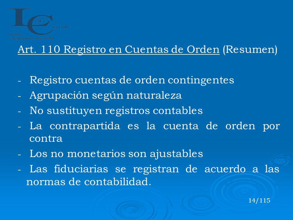 Art. 110 Registro en Cuentas de Orden (Resumen)