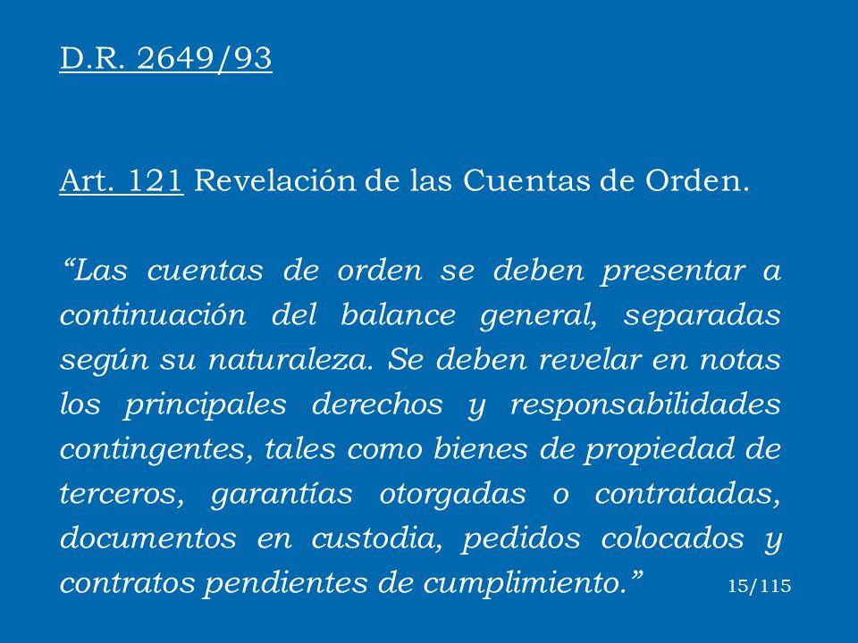 Art. 121 Revelación de las Cuentas de Orden.