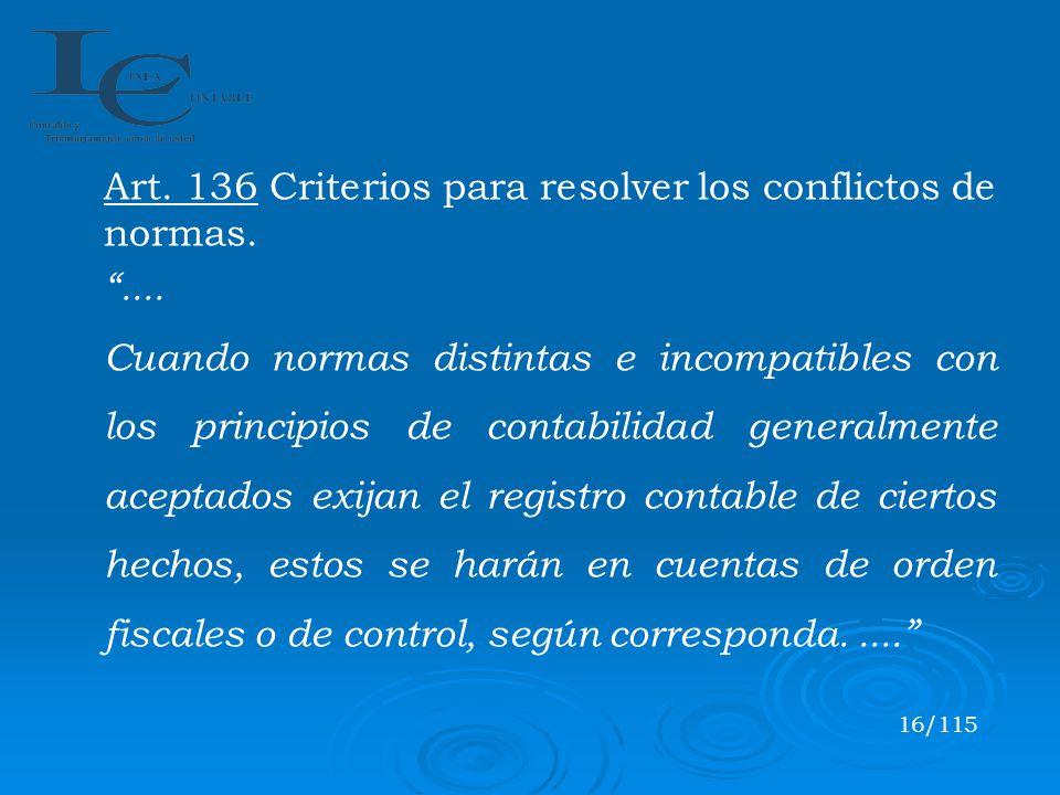 Art. 136 Criterios para resolver los conflictos de normas. ....