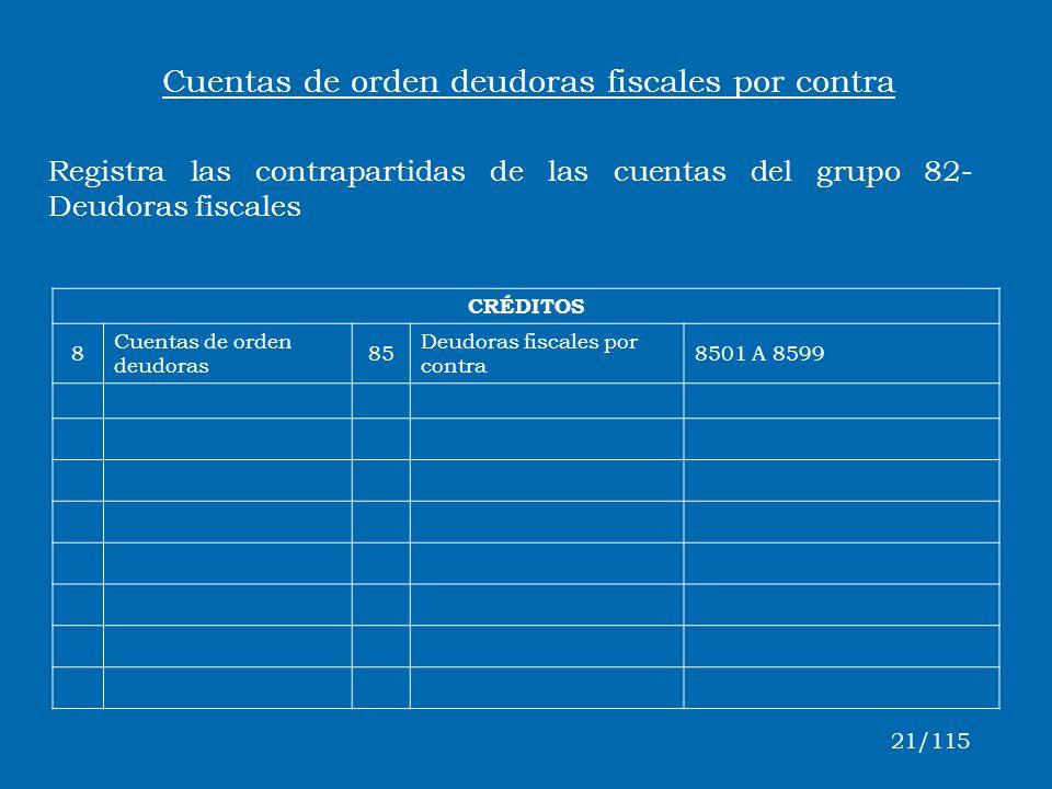Cuentas de orden deudoras fiscales por contra
