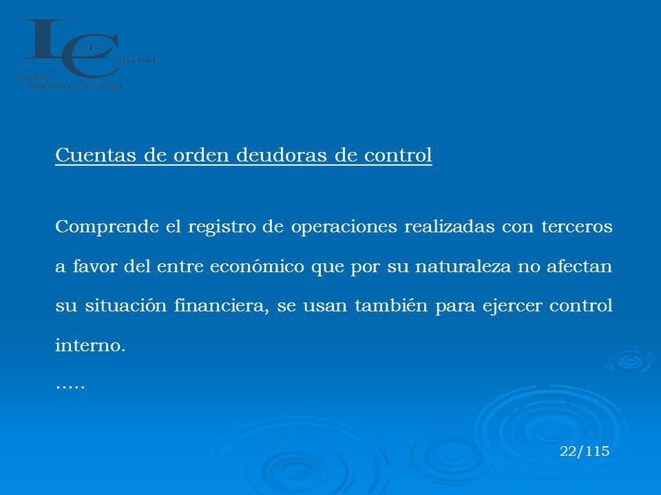 Cuentas de orden deudoras de control