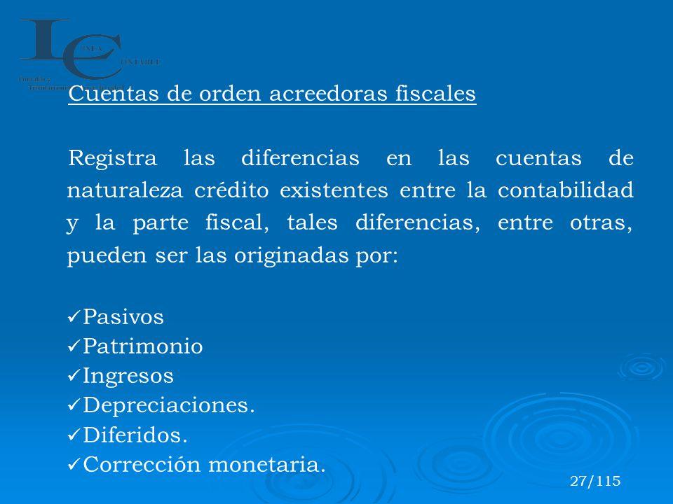 Cuentas de orden acreedoras fiscales