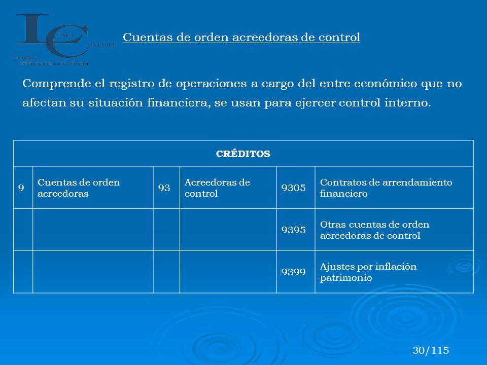 Cuentas de orden acreedoras de control