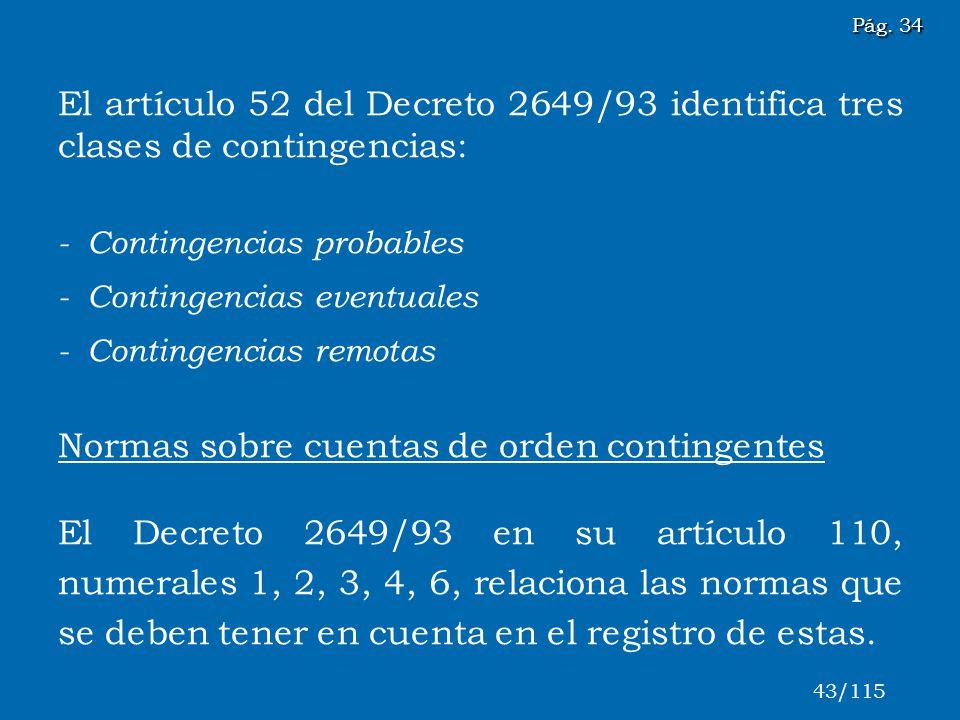 Normas sobre cuentas de orden contingentes