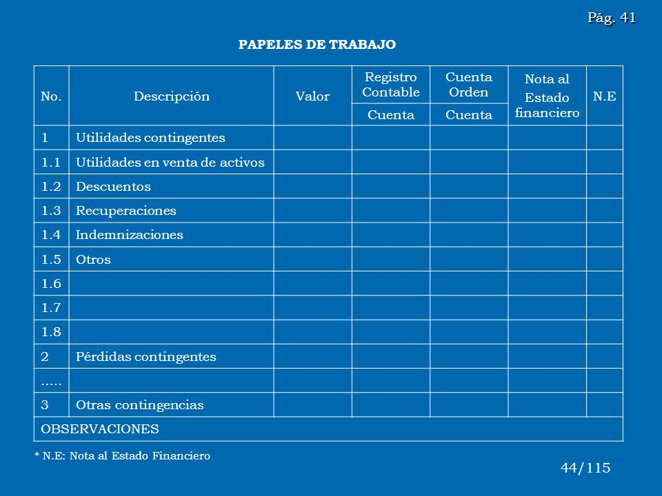 Pág. 41 44/115 PAPELES DE TRABAJO No. Descripción Valor