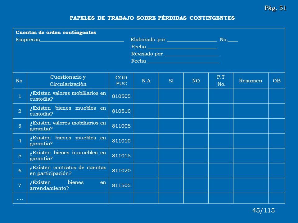 Pág. 51 45/115 PAPELES DE TRABAJO SOBRE PÉRDIDAS CONTINGENTES