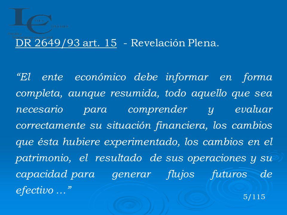 DR 2649/93 art. 15 - Revelación Plena.