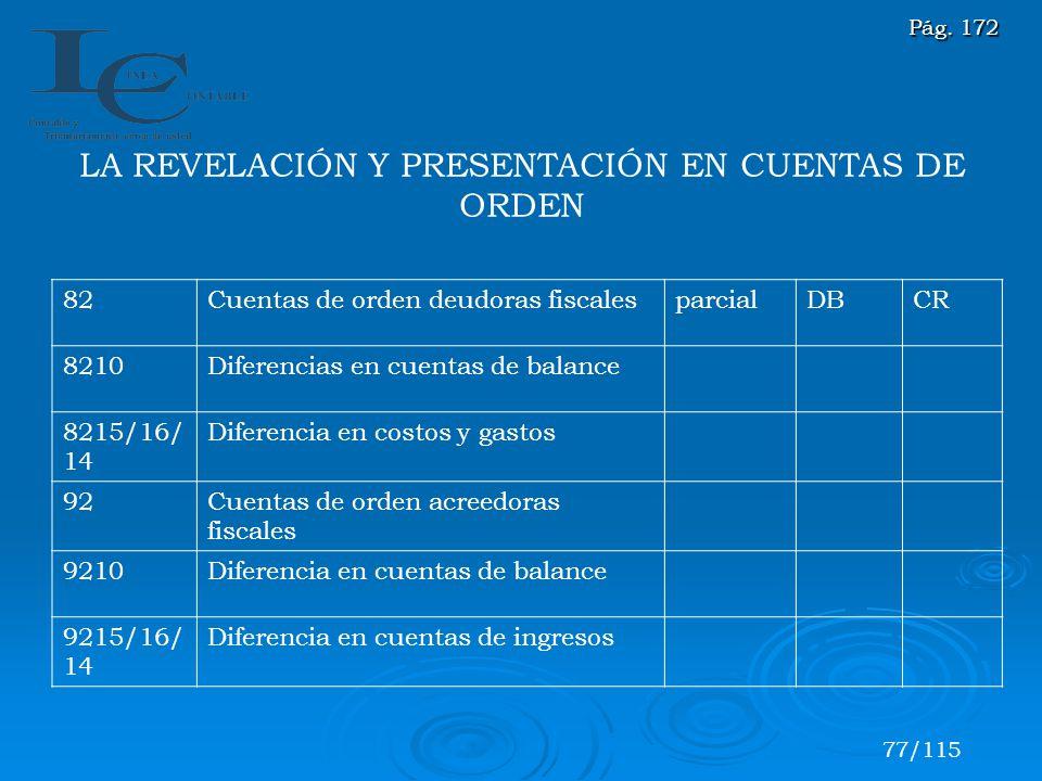 LA REVELACIÓN Y PRESENTACIÓN EN CUENTAS DE ORDEN