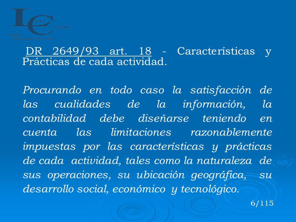 DR 2649/93 art. 18 - Características y Prácticas de cada actividad.