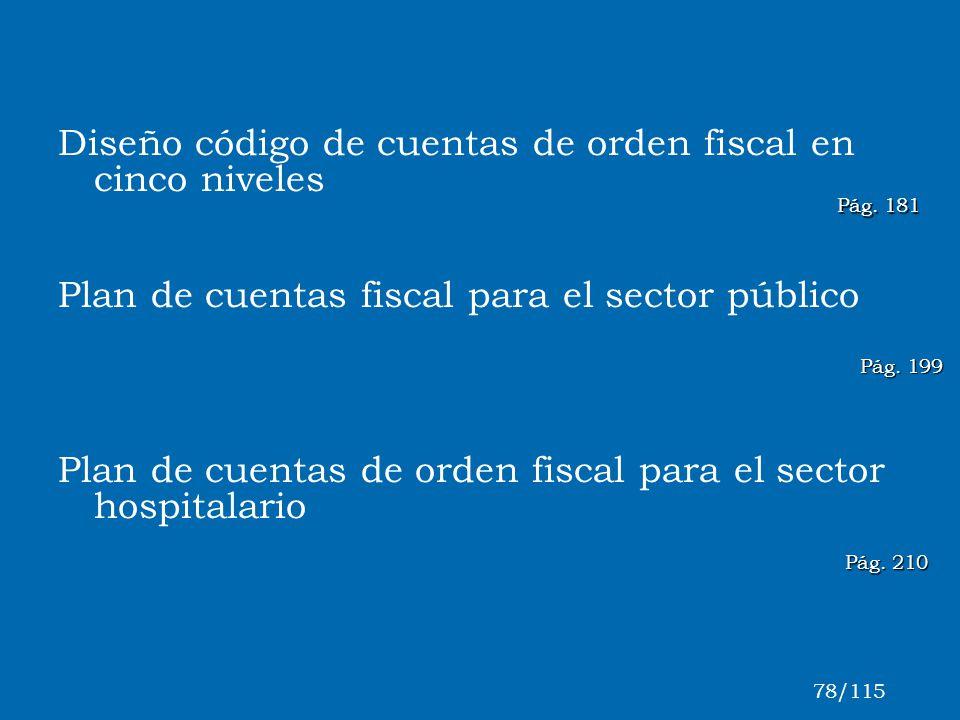 Diseño código de cuentas de orden fiscal en cinco niveles