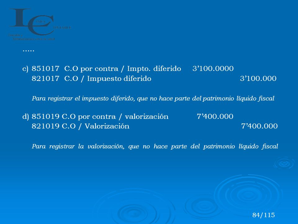c) 851017 C.O por contra / Impto. diferido 3'100.0000
