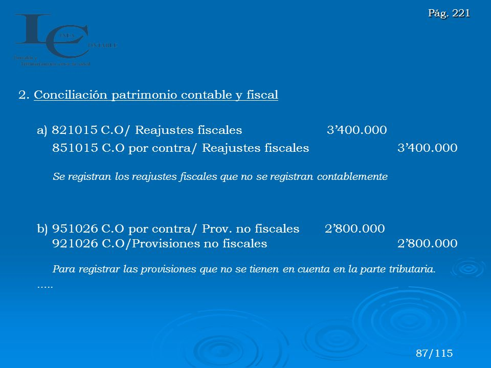 2. Conciliación patrimonio contable y fiscal
