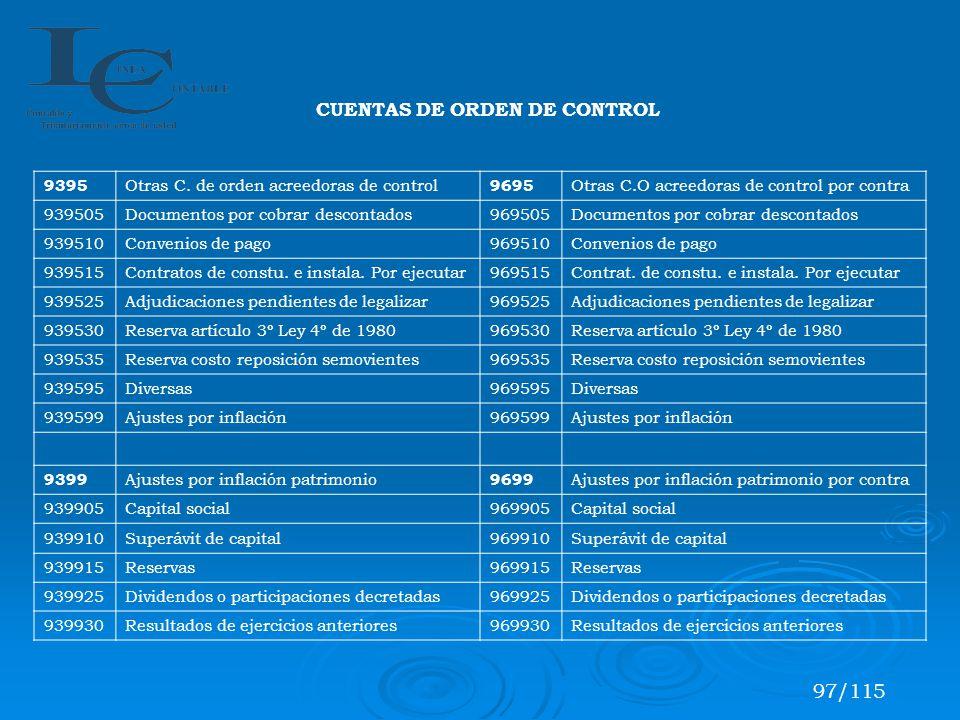 97/115 CUENTAS DE ORDEN DE CONTROL 9395