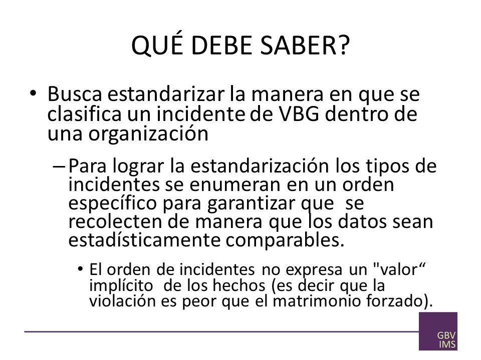 QUÉ DEBE SABER Busca estandarizar la manera en que se clasifica un incidente de VBG dentro de una organización.