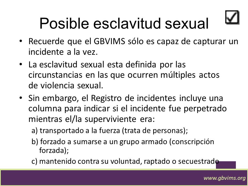 Posible esclavitud sexual
