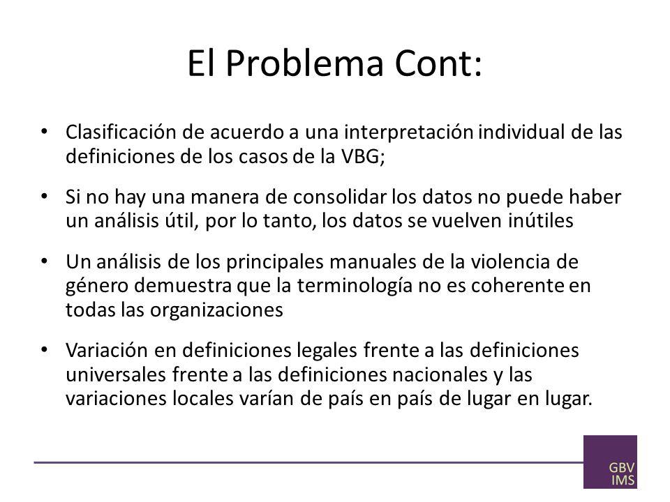 El Problema Cont: Clasificación de acuerdo a una interpretación individual de las definiciones de los casos de la VBG;