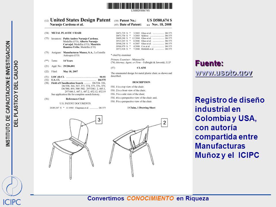 Fuente: www.uspto.gov Registro de diseño industrial en Colombia y USA, con autoría compartida entre Manufacturas Muñoz y el ICIPC.