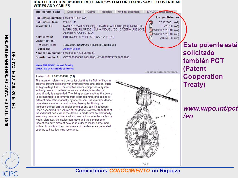 Esta patente está solicitada también PCT (Patent Cooperation Treaty)