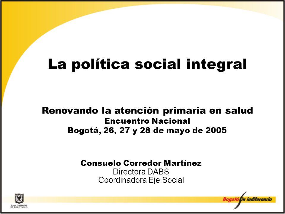 Consuelo Corredor Martínez Directora DABS Coordinadora Eje Social