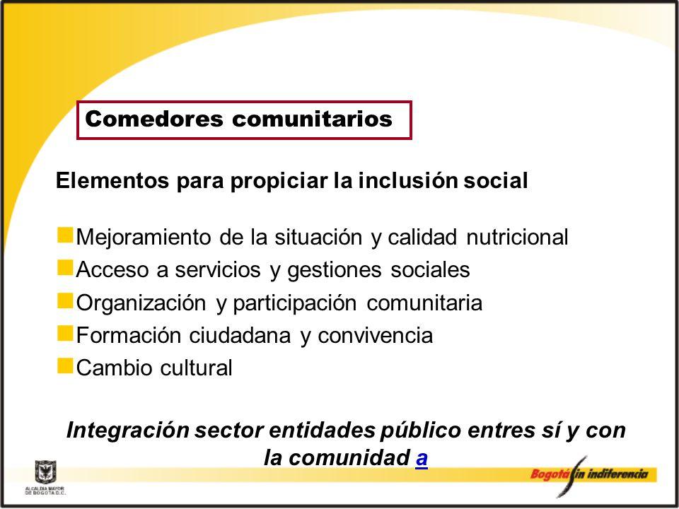 Integración sector entidades público entres sí y con la comunidad a