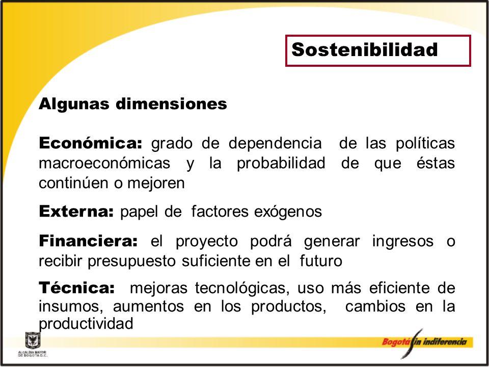 Sostenibilidad Algunas dimensiones