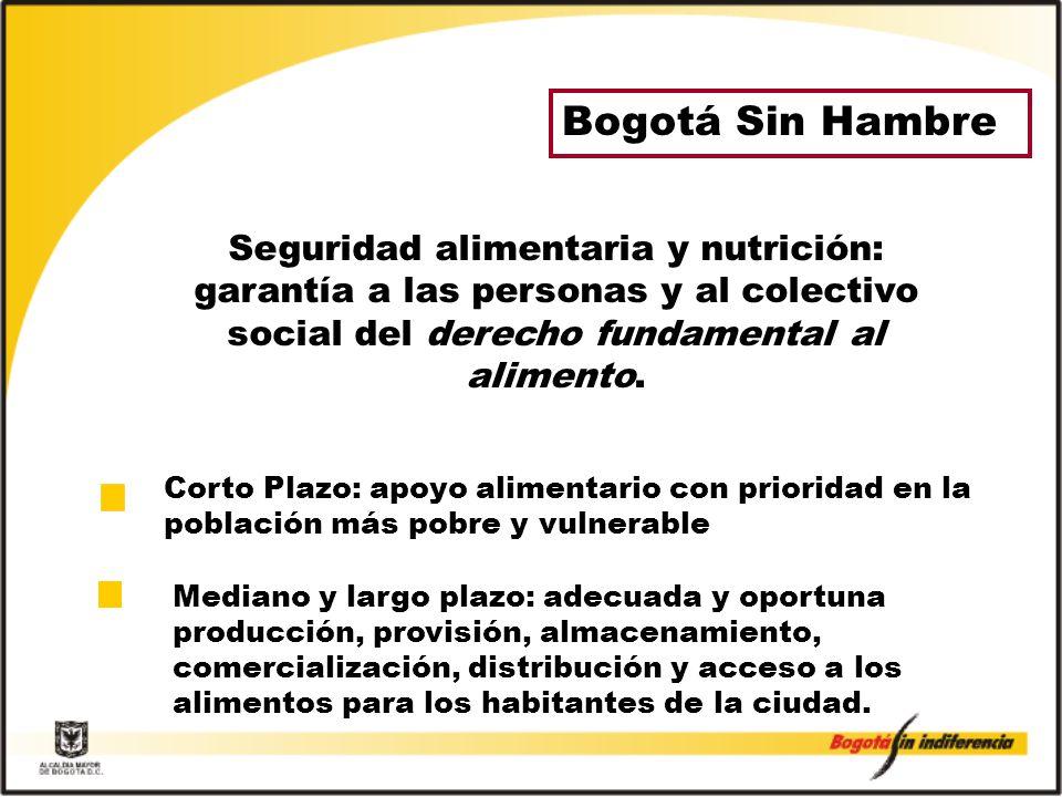 Bogotá Sin Hambre Seguridad alimentaria y nutrición: garantía a las personas y al colectivo social del derecho fundamental al alimento.