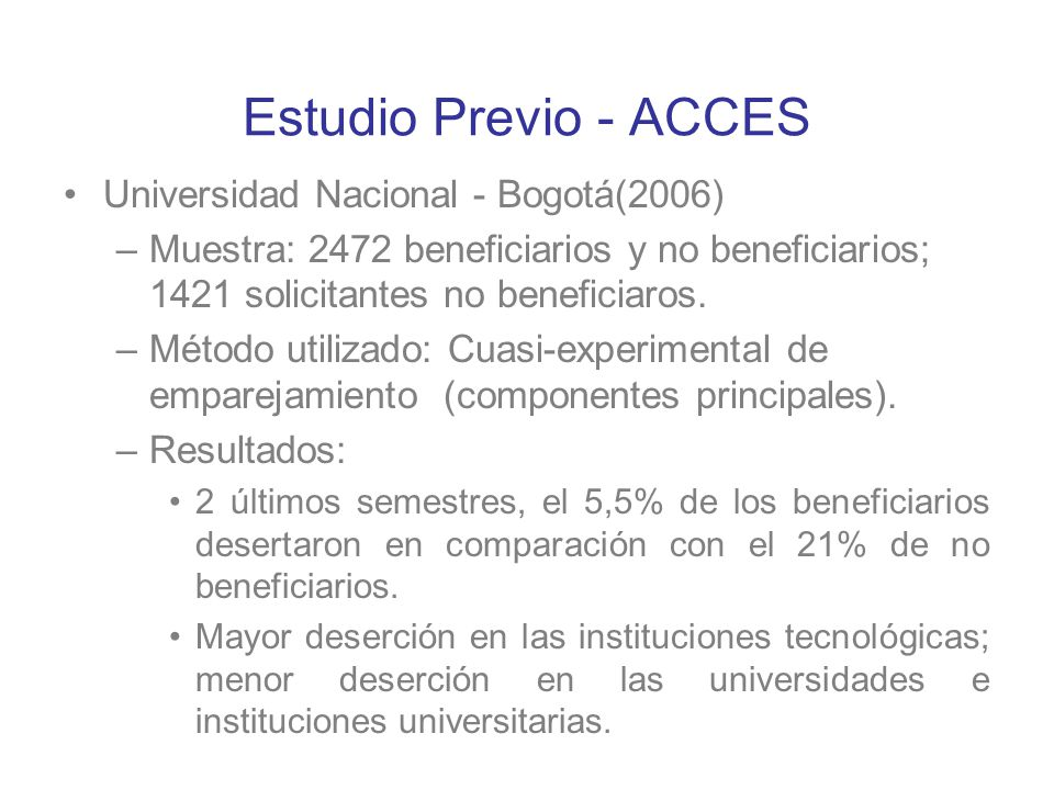 Estudio Previo - ACCES Universidad Nacional - Bogotá(2006)