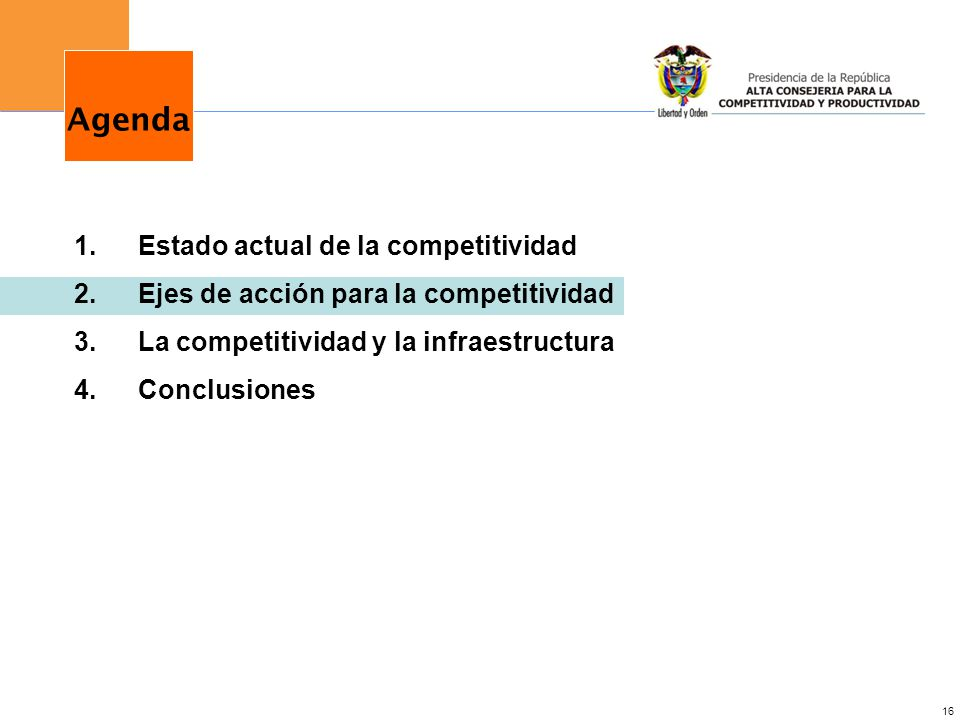 Agenda Estado actual de la competitividad