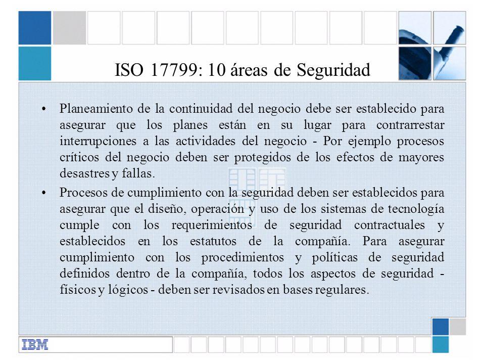 ISO 17799: 10 áreas de Seguridad