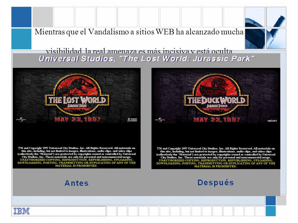 Mientras que el Vandalismo a sitios WEB ha alcanzado mucha visibilidad, la real amenaza es más incisiva y está oculta