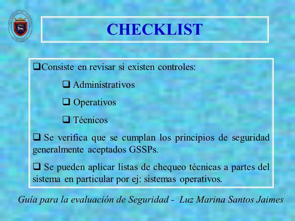 CHECKLIST Consiste en revisar si existen controles: Administrativos