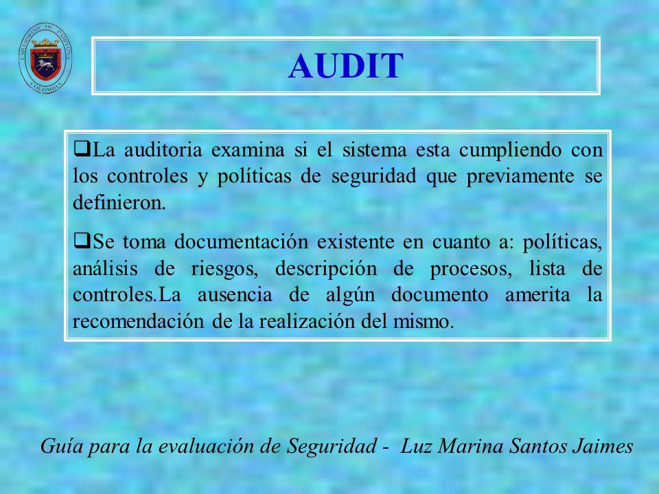 AUDIT La auditoria examina si el sistema esta cumpliendo con los controles y políticas de seguridad que previamente se definieron.