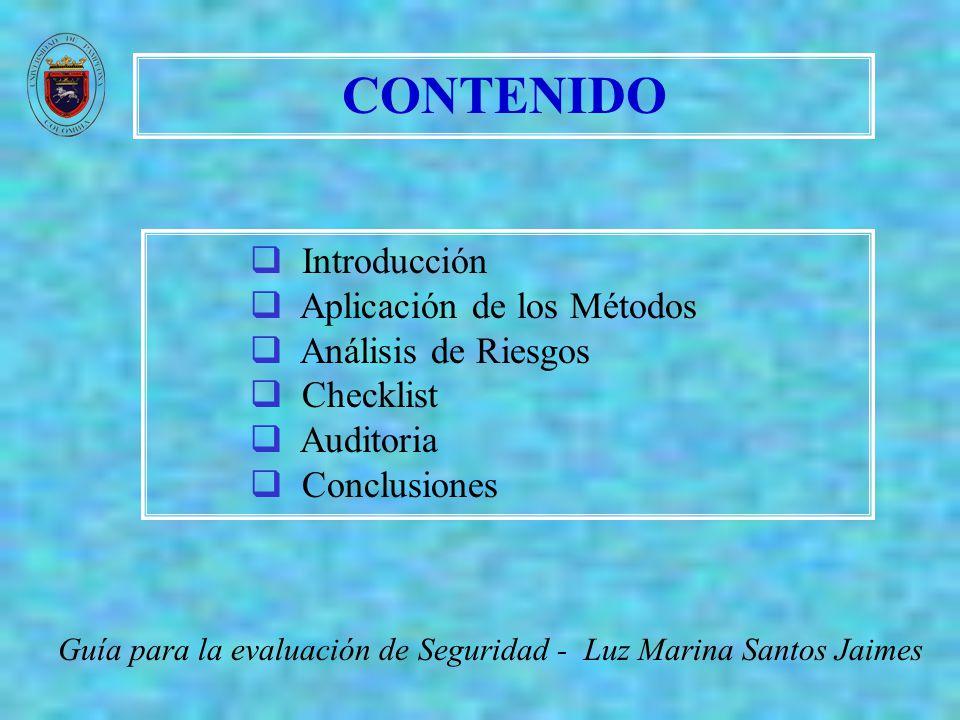CONTENIDO Introducción Aplicación de los Métodos Análisis de Riesgos