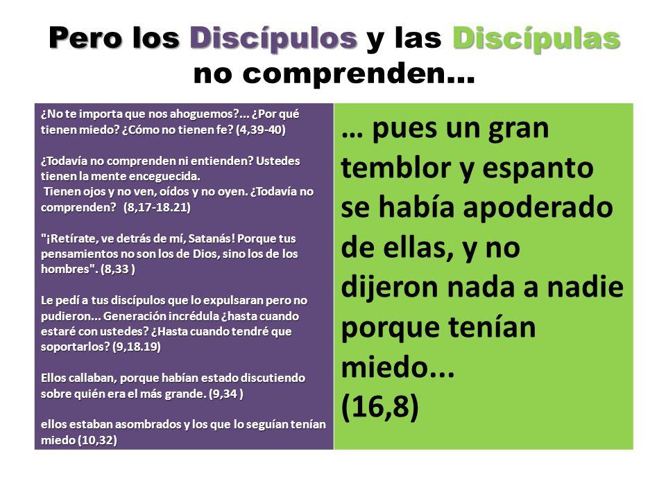 Pero los Discípulos y las Discípulas no comprenden…
