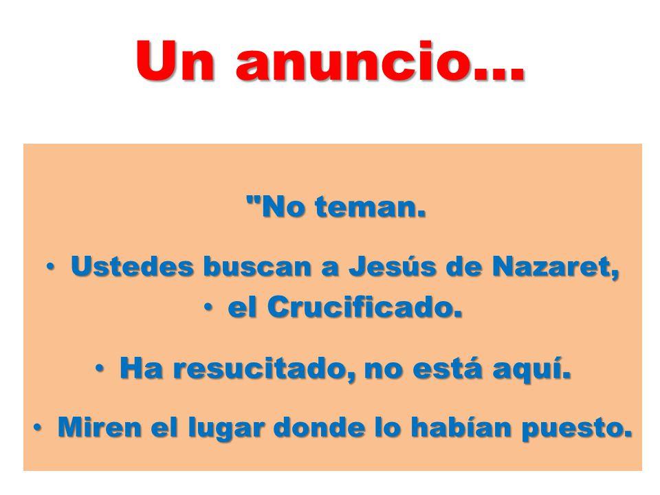 Un anuncio… No teman. el Crucificado. Ha resucitado, no está aquí.