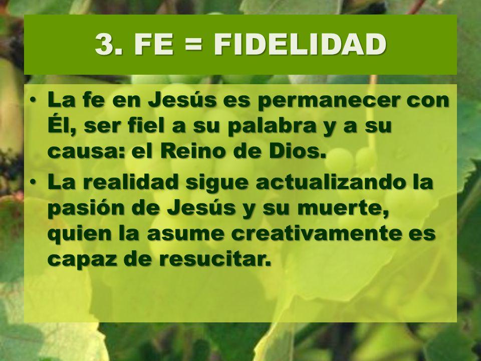 3. FE = FIDELIDAD La fe en Jesús es permanecer con Él, ser fiel a su palabra y a su causa: el Reino de Dios.