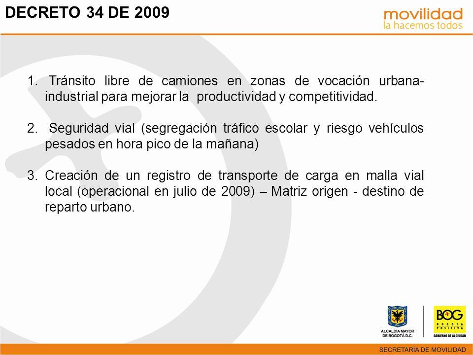 DECRETO 34 DE 2009 Tránsito libre de camiones en zonas de vocación urbana-industrial para mejorar la productividad y competitividad.