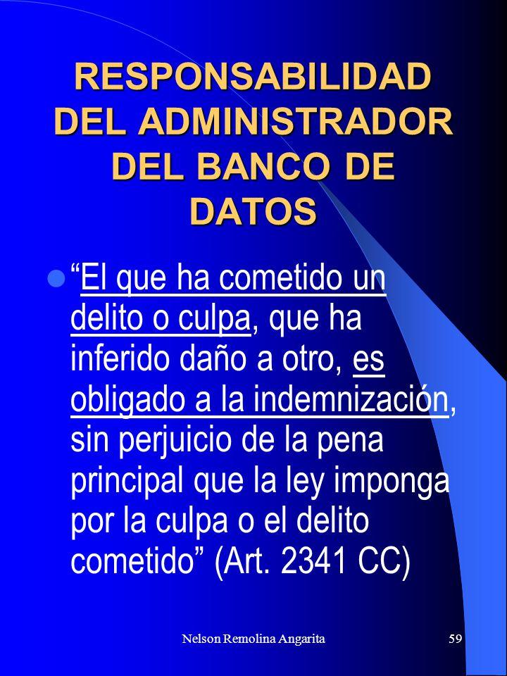 RESPONSABILIDAD DEL ADMINISTRADOR DEL BANCO DE DATOS