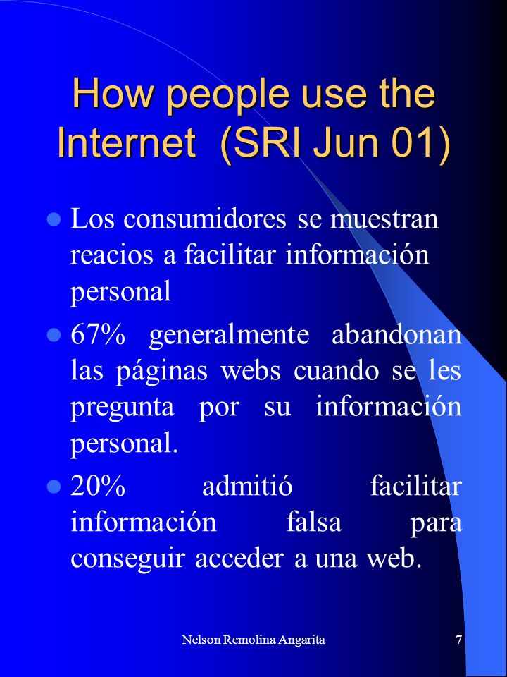 How people use the Internet (SRI Jun 01)