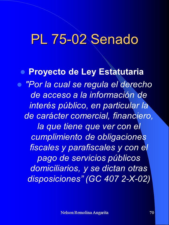 PL 75-02 Senado Proyecto de Ley Estatutaria